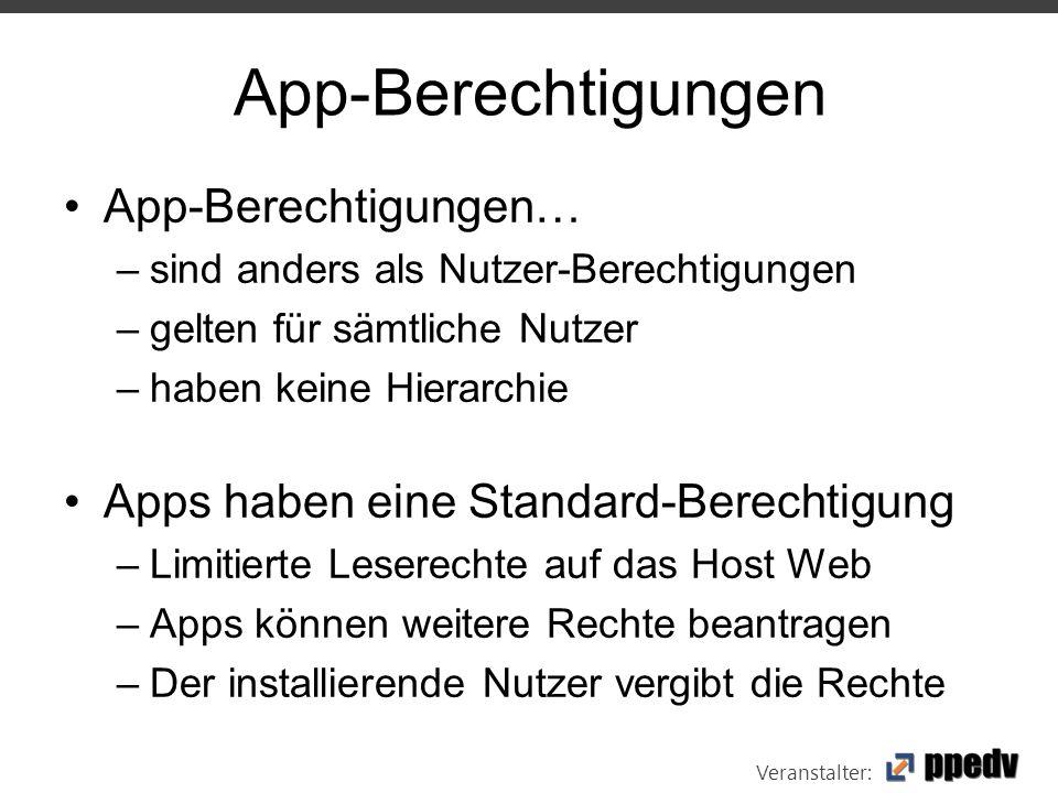 Veranstalter: App-Berechtigungen App-Berechtigungen… –sind anders als Nutzer-Berechtigungen –gelten für sämtliche Nutzer –haben keine Hierarchie Apps haben eine Standard-Berechtigung –Limitierte Leserechte auf das Host Web –Apps können weitere Rechte beantragen –Der installierende Nutzer vergibt die Rechte