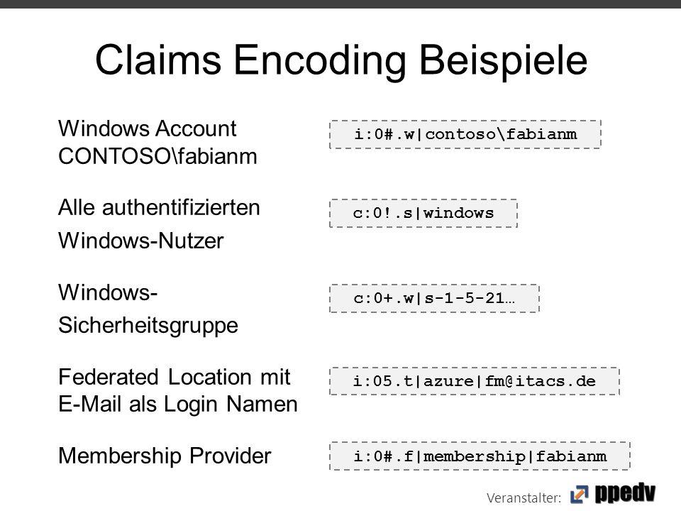 Veranstalter: Claims Encoding Beispiele Windows Account CONTOSO\fabianm Alle authentifizierten Windows-Nutzer Windows- Sicherheitsgruppe Federated Location mit E-Mail als Login Namen Membership Provider i:0#.w|contoso\fabianm c:0!.s|windows c:0+.w|s-1-5-21… i:05.t|azure|fm@itacs.de i:0#.f|membership|fabianm