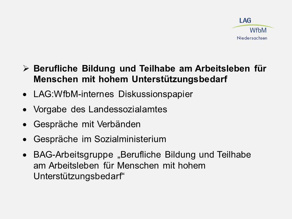 Niedersachsen  Berufliche Bildung und Teilhabe am Arbeitsleben für Menschen mit hohem Unterstützungsbedarf  LAG:WfbM-internes Diskussionspapier  Vo