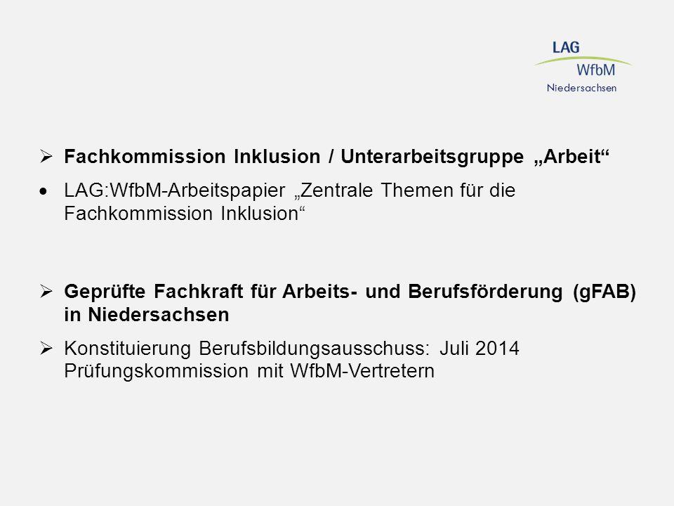 """ Fachkommission Inklusion / Unterarbeitsgruppe """"Arbeit""""  LAG:WfbM-Arbeitspapier """"Zentrale Themen für die Fachkommission Inklusion""""  Geprüfte Fachkr"""