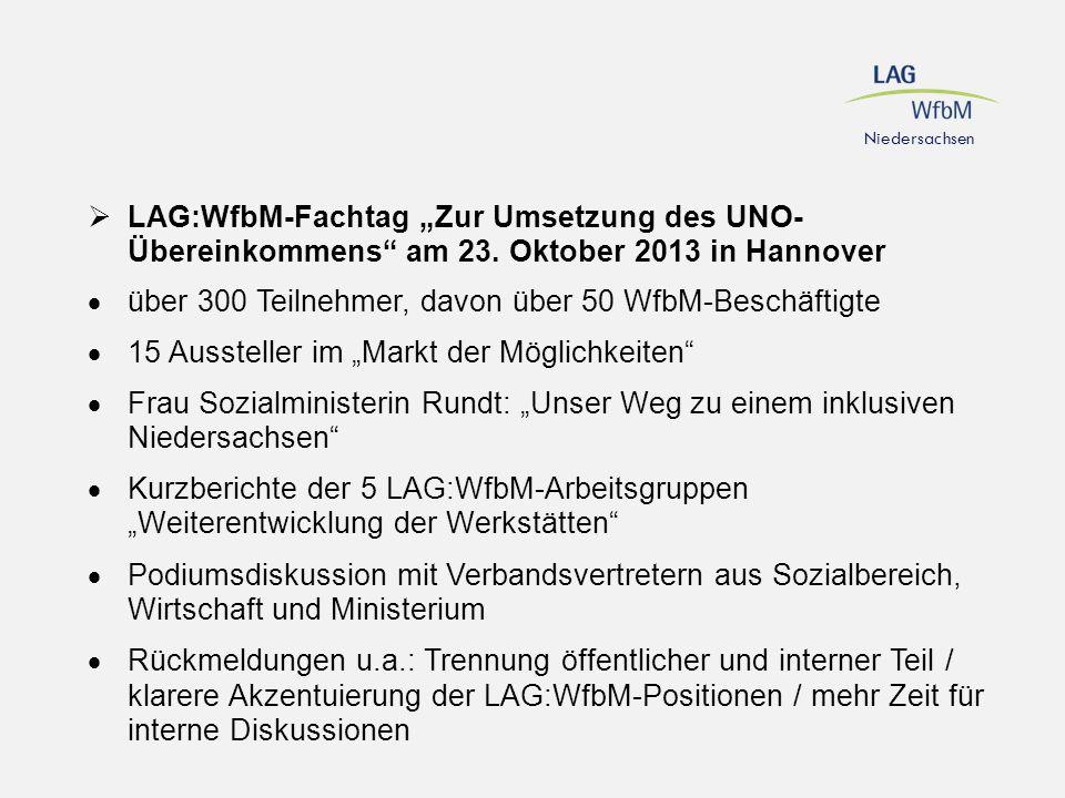 """Niedersachsen  LAG:WfbM-Fachtag """"Zur Umsetzung des UNO- Übereinkommens"""" am 23. Oktober 2013 in Hannover  über 300 Teilnehmer, davon über 50 WfbM-Bes"""