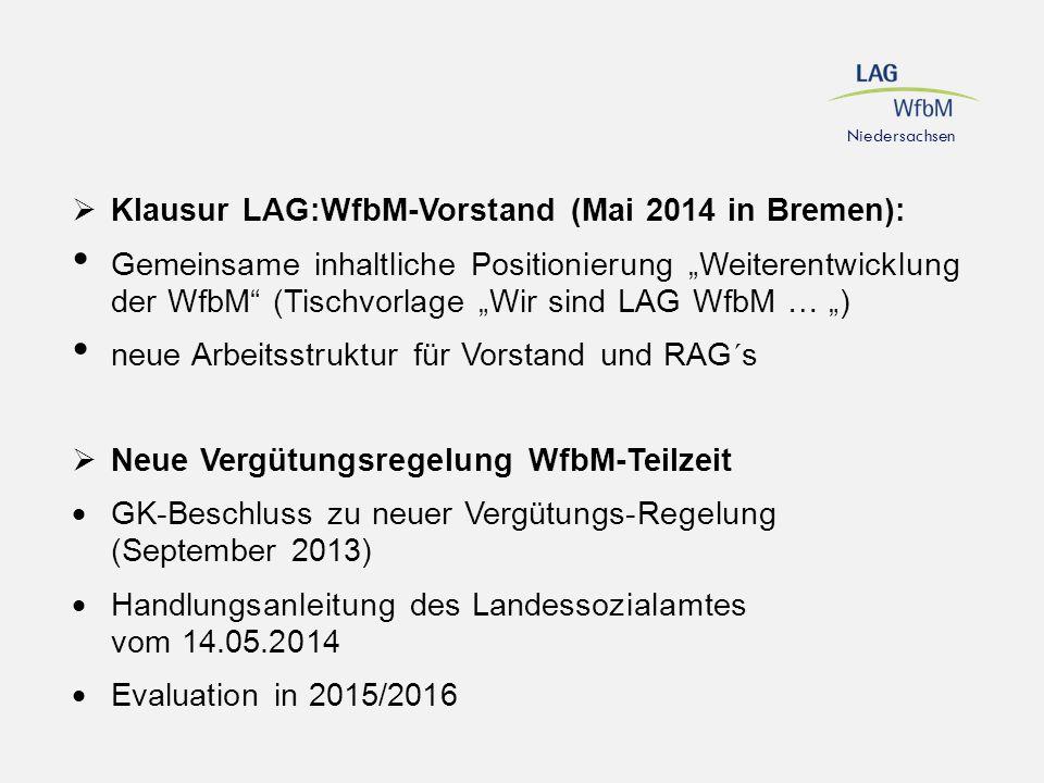 """Niedersachsen  Klausur LAG:WfbM-Vorstand (Mai 2014 in Bremen): Gemeinsame inhaltliche Positionierung """"Weiterentwicklung der WfbM"""" (Tischvorlage """"Wir"""