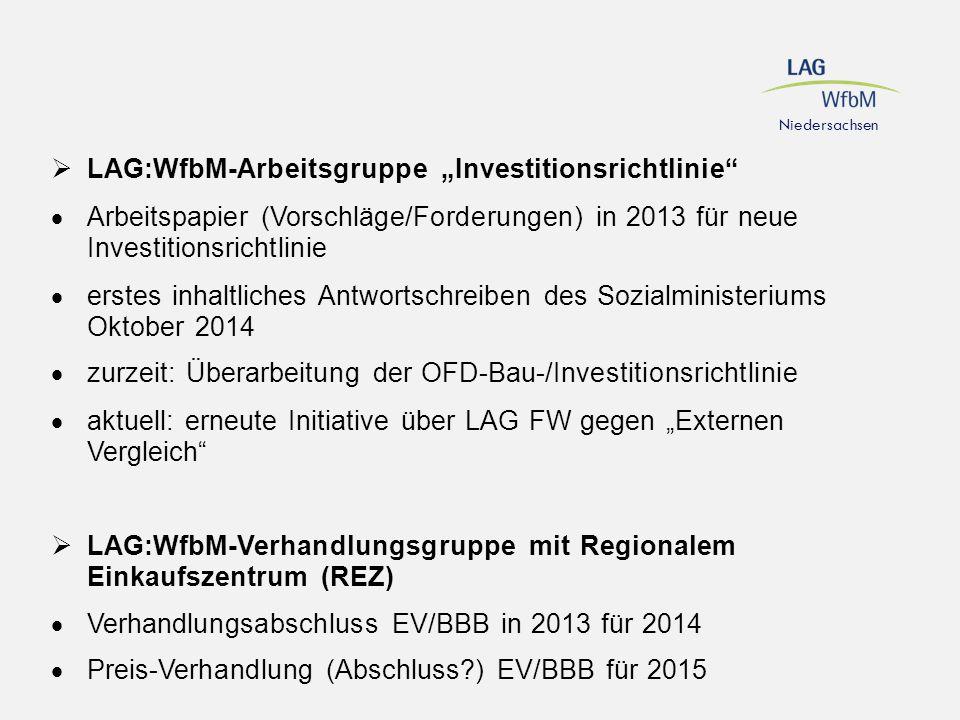 """Niedersachsen  LAG:WfbM-Arbeitsgruppe """"Investitionsrichtlinie""""  Arbeitspapier (Vorschläge/Forderungen) in 2013 für neue Investitionsrichtlinie  ers"""