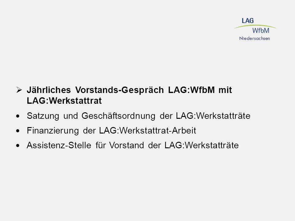 Niedersachsen  Jährliches Vorstands-Gespräch LAG:WfbM mit LAG:Werkstattrat  Satzung und Geschäftsordnung der LAG:Werkstatträte  Finanzierung der LA