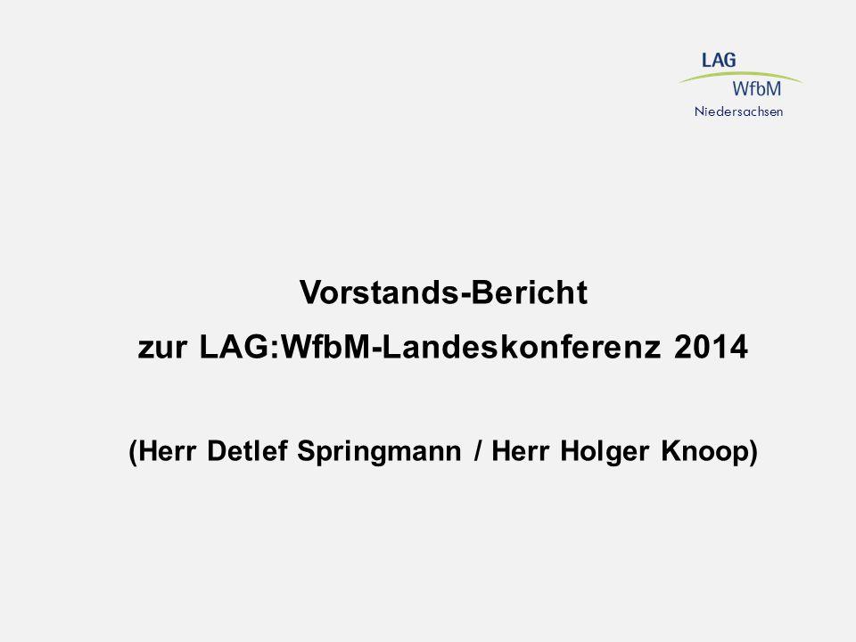 Vorstands-Bericht zur LAG:WfbM-Landeskonferenz 2014 (Herr Detlef Springmann / Herr Holger Knoop)