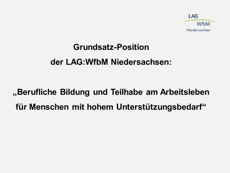 """Grundsatz-Position der LAG:WfbM Niedersachsen: """"Berufliche Bildung und Teilhabe am Arbeitsleben für Menschen mit hohem Unterstützungsbedarf"""" Niedersac"""