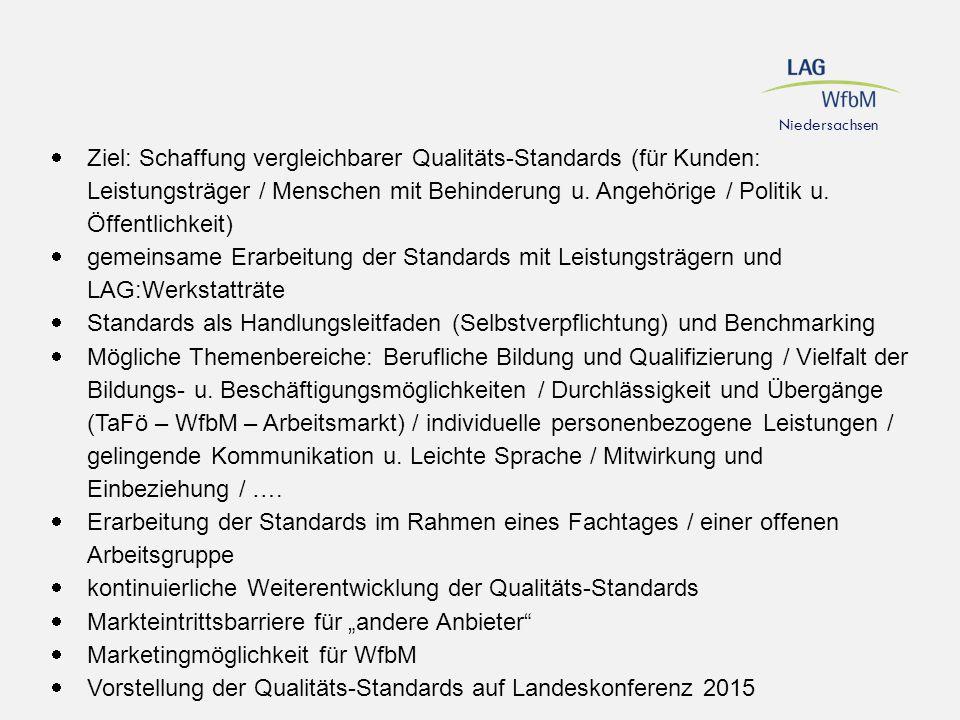  Ziel: Schaffung vergleichbarer Qualitäts-Standards (für Kunden: Leistungsträger / Menschen mit Behinderung u. Angehörige / Politik u. Öffentlichkeit