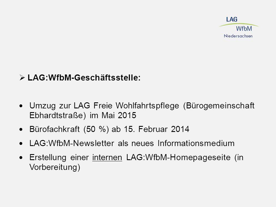  LAG:WfbM-Geschäftsstelle:  Umzug zur LAG Freie Wohlfahrtspflege (Bürogemeinschaft Ebhardtstraße) im Mai 2015  Bürofachkraft (50 %) ab 15. Februar