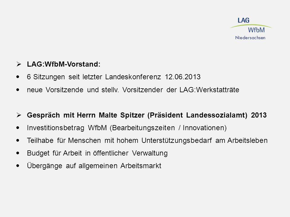  LAG:WfbM-Vorstand:  6 Sitzungen seit letzter Landeskonferenz 12.06.2013  neue Vorsitzende und stellv. Vorsitzender der LAG:Werkstatträte  Gespräc
