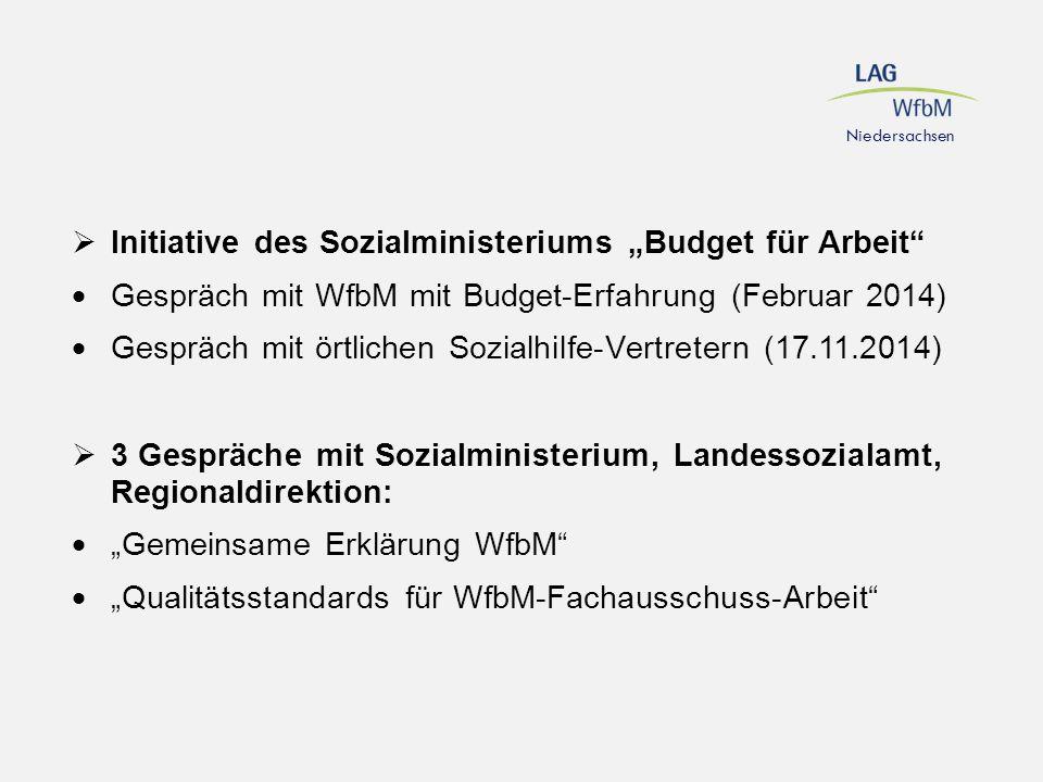 """Niedersachsen  Initiative des Sozialministeriums """"Budget für Arbeit""""  Gespräch mit WfbM mit Budget-Erfahrung (Februar 2014)  Gespräch mit örtlichen"""