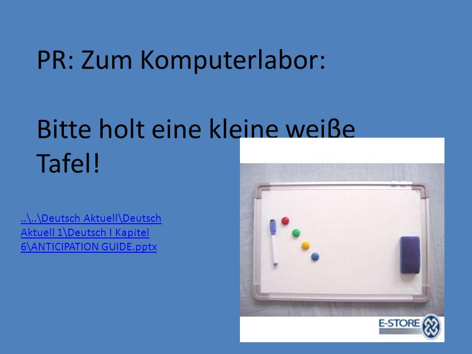 PR: Zum Komputerlabor: Bitte holt eine kleine weiβe Tafel!..\..\Deutsch Aktuell\Deutsch Aktuell 1\Deutsch I Kapitel 6\ANTICIPATION GUIDE.pptx