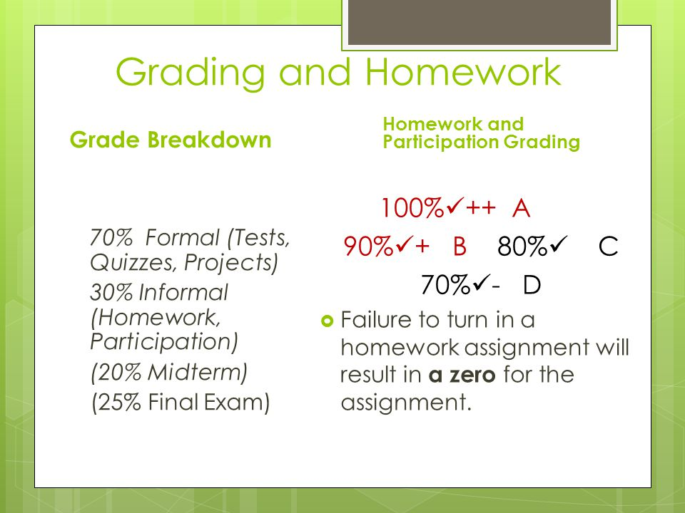 Grading and Homework Grade Breakdown Homework and Participation Grading 70% Formal (Tests, Quizzes, Projects) 30% Informal (Homework, Participation) (