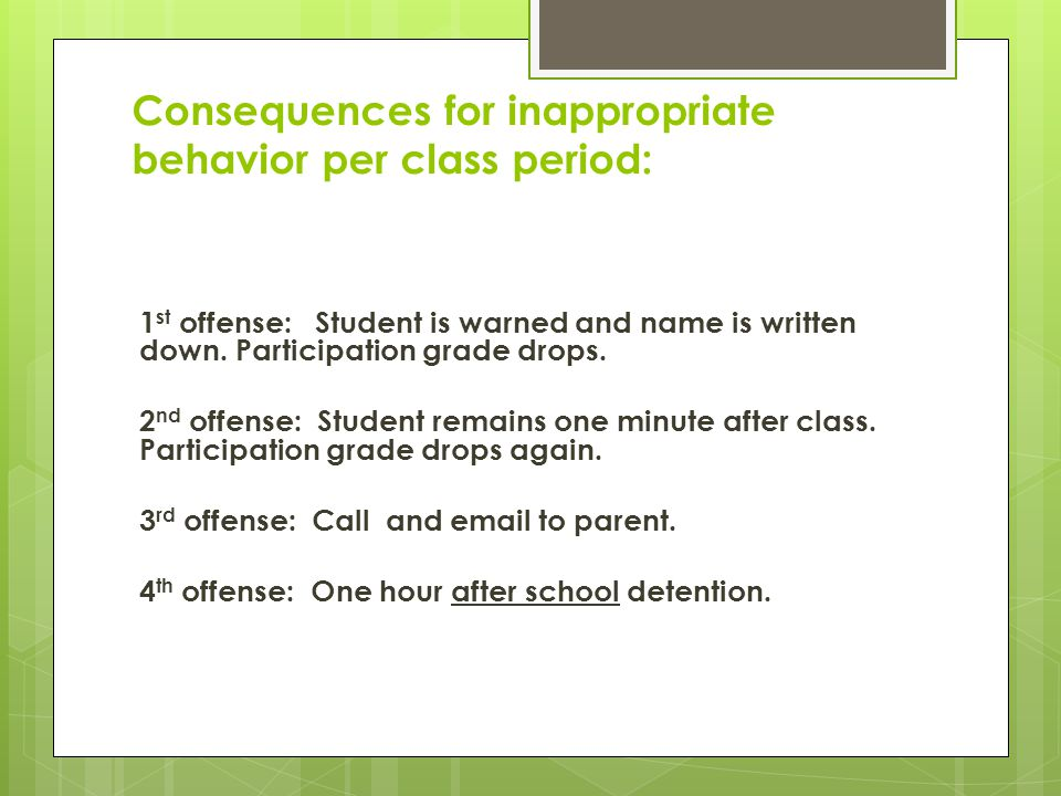 Consequences for inappropriate behavior per class period: 1 st offense: Student is warned and name is written down. Participation grade drops. 2 nd of