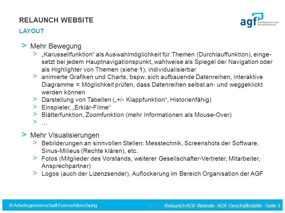 """Relaunch AGF-Website · AGF-Geschäftsstelle · Seite 3 © Arbeitsgemeinschaft Fernsehforschung > Mehr Bewegung > """"Karussellfunktion"""" als Auswahlmöglichke"""