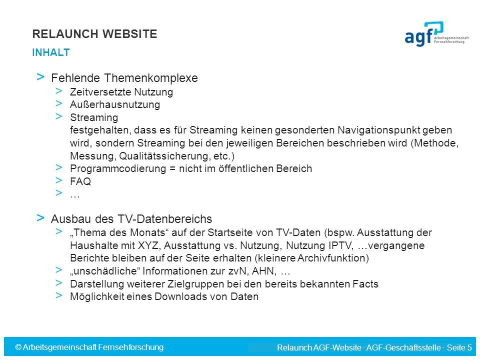 Relaunch AGF-Website · AGF-Geschäftsstelle · Seite 5 © Arbeitsgemeinschaft Fernsehforschung > Fehlende Themenkomplexe > Zeitversetzte Nutzung > Außerh