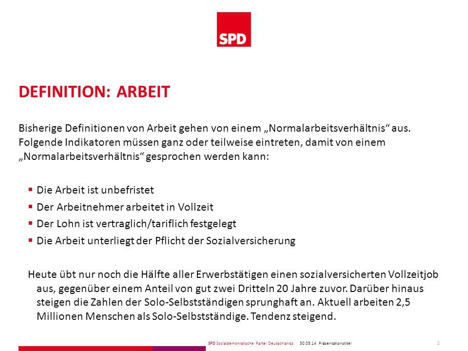 """SPD Sozialdemokratische Partei Deutschlands DEFINITION: ARBEIT Bisherige Definitionen von Arbeit gehen von einem """"Normalarbeitsverhältnis aus."""