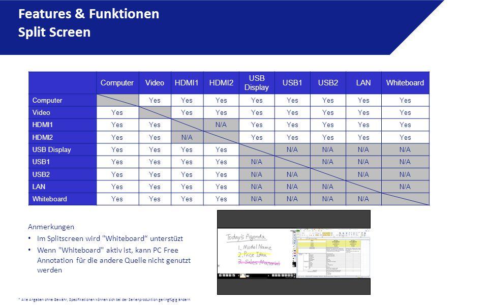 * Alle Angaben ohne Gewähr, Spezifikationen können sich bei der Serienproduktion geringfügig ändern Features & Funktionen Split Screen ComputerVideoHDMI1HDMI2 USB Display USB1USB2LANWhiteboard ComputerYes VideoYes HDMI1Yes N/AYes HDMI2Yes N/AYes USB DisplayYes N/A USB1Yes N/A USB2Yes N/A LANYes N/A WhiteboardYes N/A Anmerkungen Im Splitscreen wird Whiteboard unterstüzt Wenn Whiteboard aktiv ist, kann PC Free Annotation für die andere Quelle nicht genutzt werden