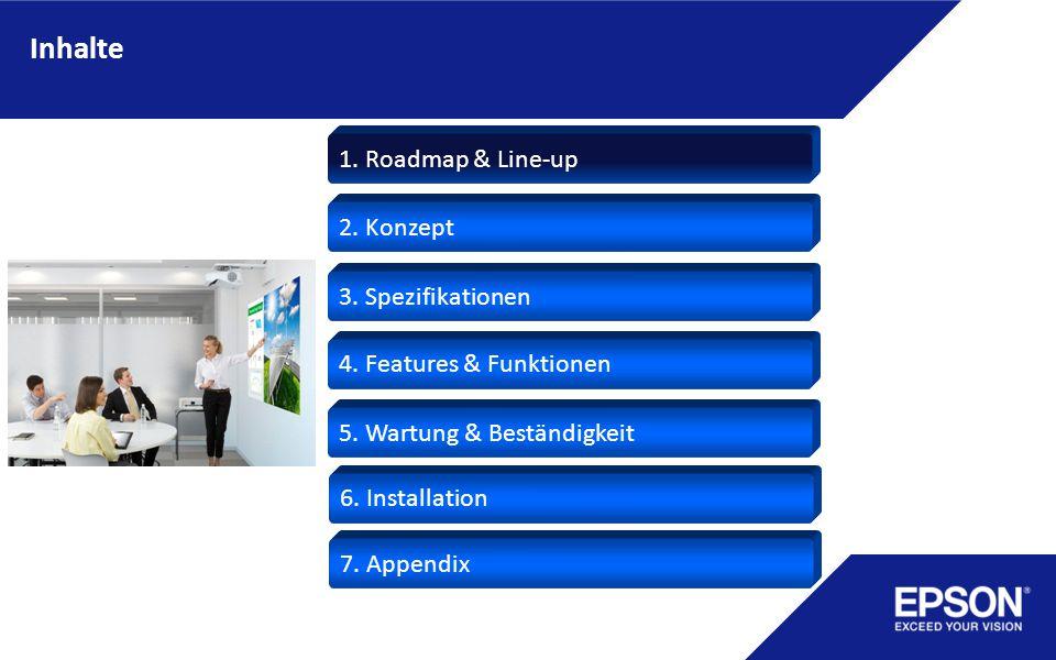 Inhalte 2. Konzept 3. Spezifikationen 1. Roadmap & Line-up 4. Features & Funktionen 5. Wartung & Beständigkeit 6. Installation 7. Appendix