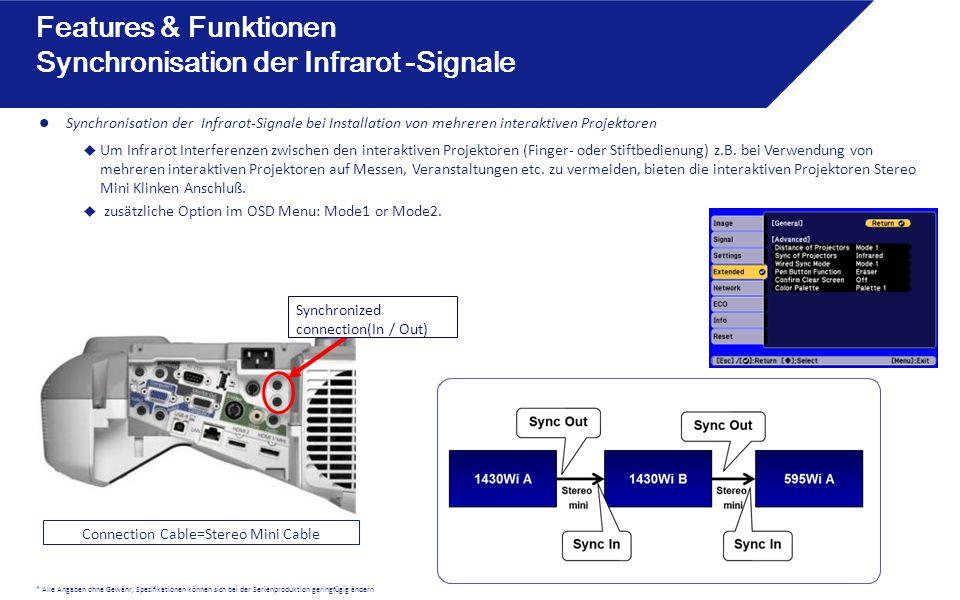 * Alle Angaben ohne Gewähr, Spezifikationen können sich bei der Serienproduktion geringfügig ändern Synchronisation der Infrarot-Signale bei Installat