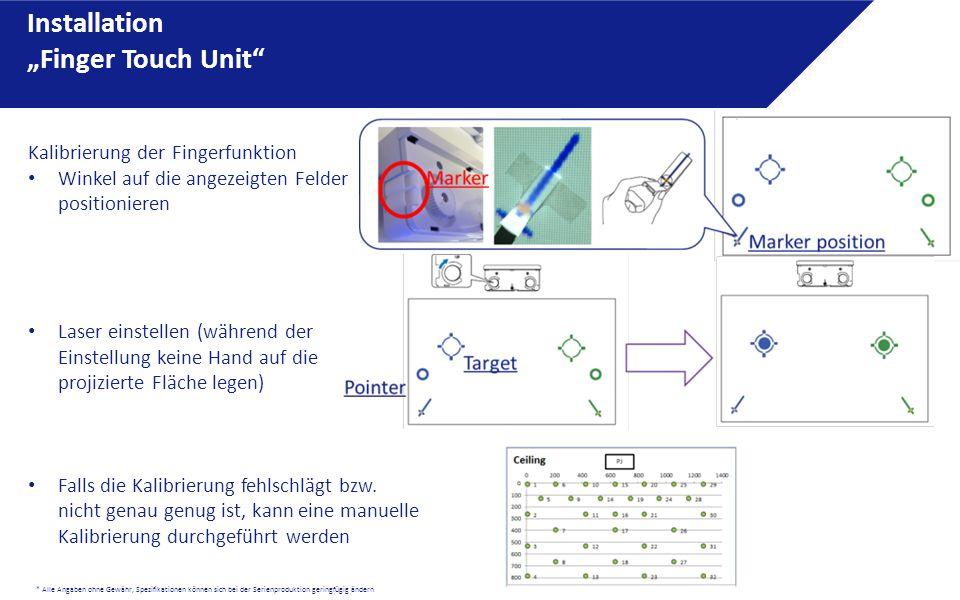 """* Alle Angaben ohne Gewähr, Spezifikationen können sich bei der Serienproduktion geringfügig ändern Installation """"Finger Touch Unit"""" Kalibrierung der"""