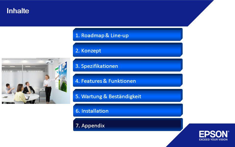 Inhalte 3. Spezifikationen 1. Roadmap & Line-up 4. Features & Funktionen 5. Wartung & Beständigkeit 6. Installation 7. Appendix 2. Konzept