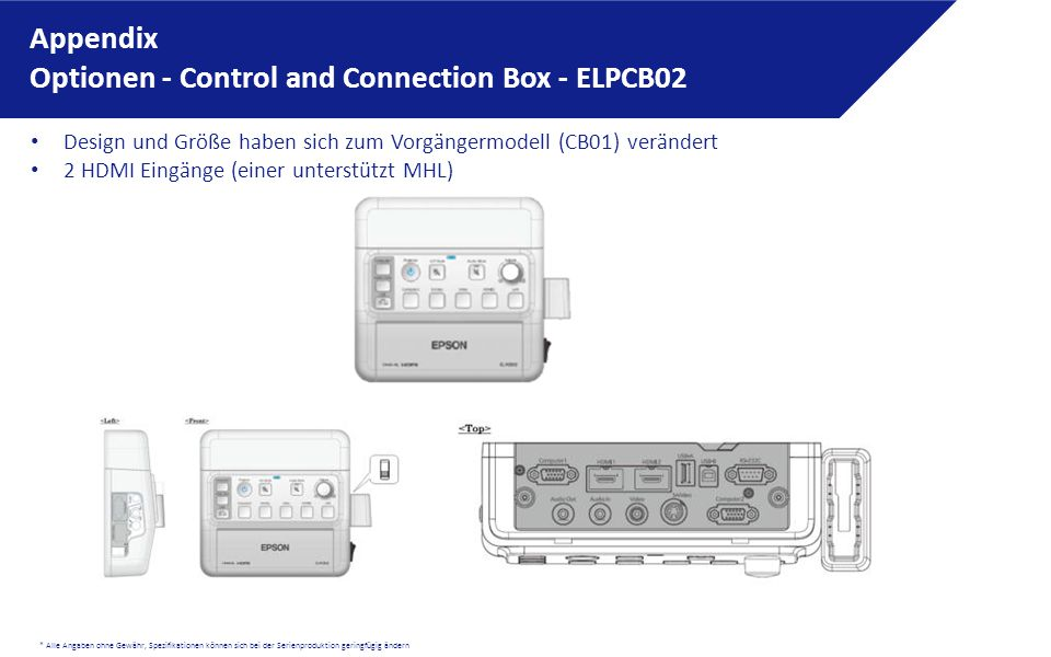 * Alle Angaben ohne Gewähr, Spezifikationen können sich bei der Serienproduktion geringfügig ändern Appendix Optionen - Control and Connection Box - ELPCB02 Design und Größe haben sich zum Vorgängermodell (CB01) verändert 2 HDMI Eingänge (einer unterstützt MHL)