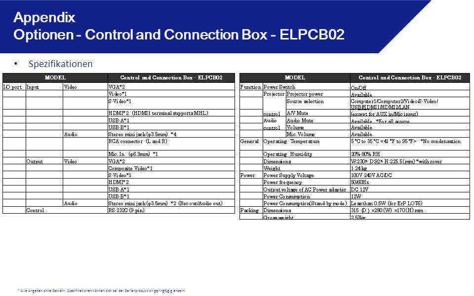 * Alle Angaben ohne Gewähr, Spezifikationen können sich bei der Serienproduktion geringfügig ändern Appendix Optionen - Control and Connection Box - ELPCB02 Spezifikationen