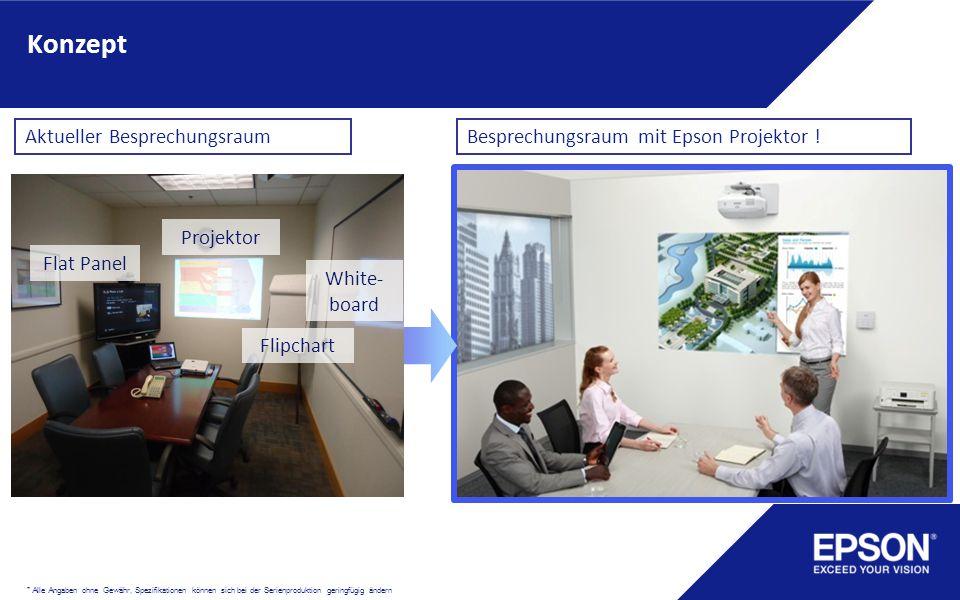 Konzept Projektor Flipchart Flat Panel White- board Aktueller BesprechungsraumBesprechungsraum mit Epson Projektor ! * Alle Angaben ohne Gewähr, Spezi