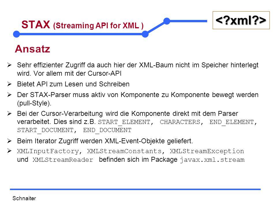 Schnaiter <?xml?> STAX (Streaming API for XML )  Sehr effizienter Zugriff da auch hier der XML-Baum nicht im Speicher hinterlegt wird.