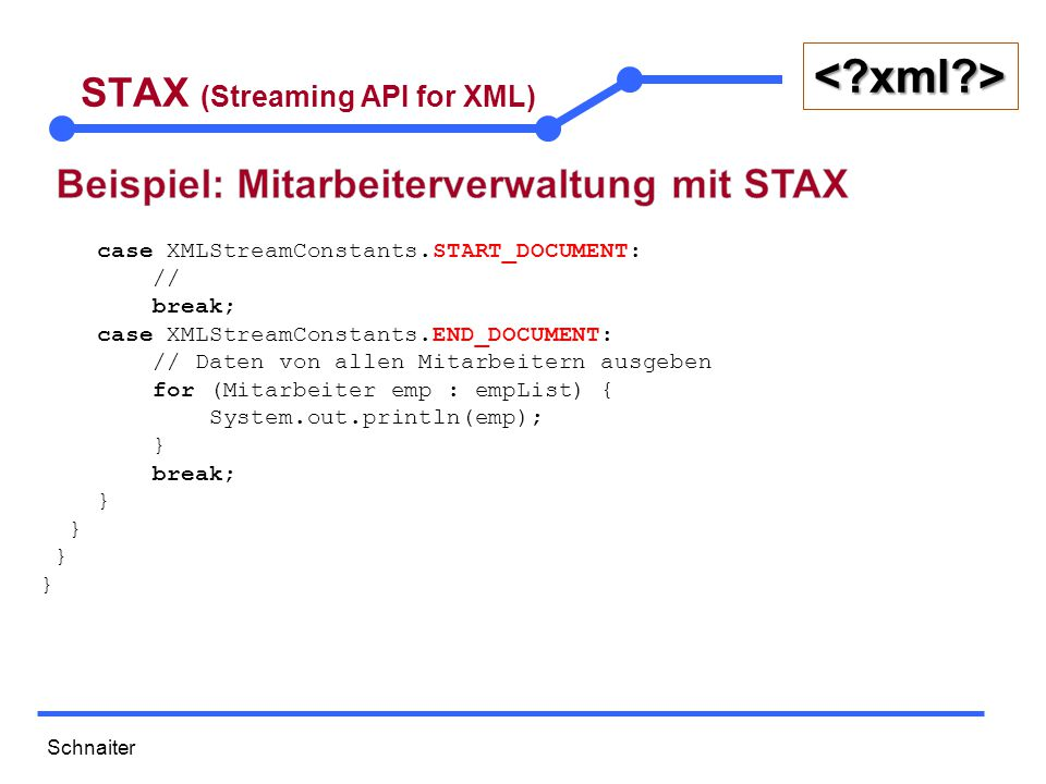 Schnaiter <?xml?> STAX (Streaming API for XML) case XMLStreamConstants.START_DOCUMENT: // break; case XMLStreamConstants.END_DOCUMENT: // Daten von al