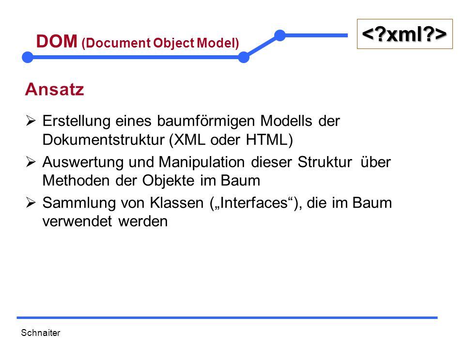 Schnaiter <?xml?> DOM (Document Object Model)  Erstellung eines baumförmigen Modells der Dokumentstruktur (XML oder HTML)  Auswertung und Manipulati
