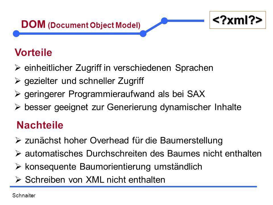 Schnaiter <?xml?> DOM (Document Object Model)  einheitlicher Zugriff in verschiedenen Sprachen  gezielter und schneller Zugriff  geringerer Programmieraufwand als bei SAX  besser geeignet zur Generierung dynamischer Inhalte  zunächst hoher Overhead für die Baumerstellung  automatisches Durchschreiten des Baumes nicht enthalten  konsequente Baumorientierung umständlich  Schreiben von XML nicht enthalten