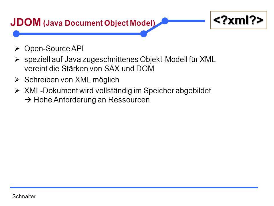 Schnaiter <?xml?> JDOM (Java Document Object Model)  Open-Source API  speziell auf Java zugeschnittenes Objekt-Modell für XML vereint die Stärken von SAX und DOM  Schreiben von XML möglich  XML-Dokument wird vollständig im Speicher abgebildet  Hohe Anforderung an Ressourcen