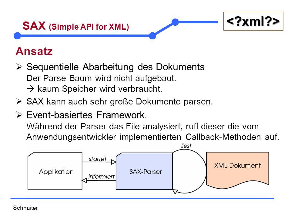 Schnaiter <?xml?> SAX (Simple API for XML)  Sequentielle Abarbeitung des Dokuments Der Parse-Baum wird nicht aufgebaut.  kaum Speicher wird verbrauc