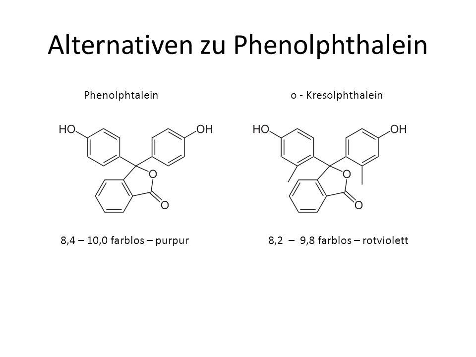 Alternativen zu Phenolphthalein Phenolphtalein o - Kresolphthalein 8,2 – 9,8 farblos – rotviolett8,4 – 10,0 farblos – purpur