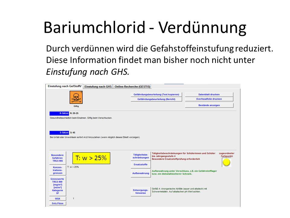 Bariumchlorid - Verdünnung Durch verdünnen wird die Gefahstoffeinstufung reduziert. Diese Information findet man bisher noch nicht unter Einstufung na