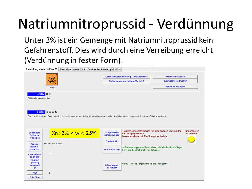 Natriumnitroprussid - Verdünnung Unter 3% ist ein Gemenge mit Natriumnitroprussid kein Gefahrenstoff. Dies wird durch eine Verreibung erreicht (Verdün