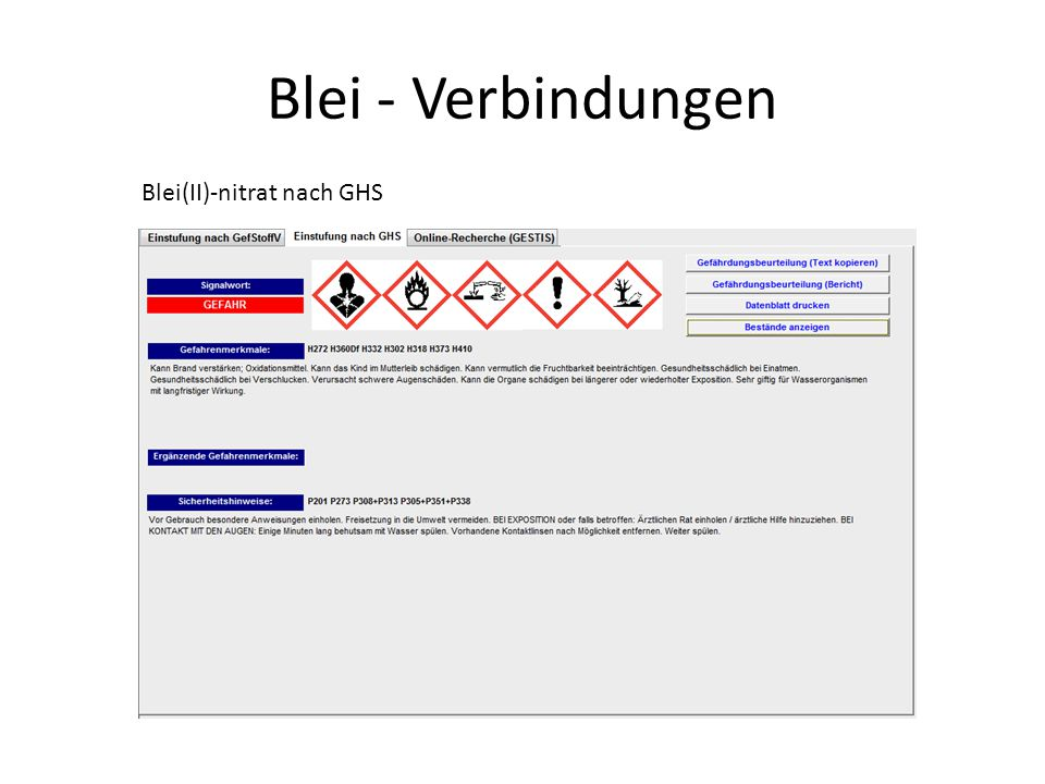 Blei - Verbindungen - Alternativen Nachweis von Schwefel im Eiweiß als Silbersulfid Vorbereitung: Aufschluss von gekochtem Hühnereiweiß mit Natronlauge durch Kochen (Vorsicht!).