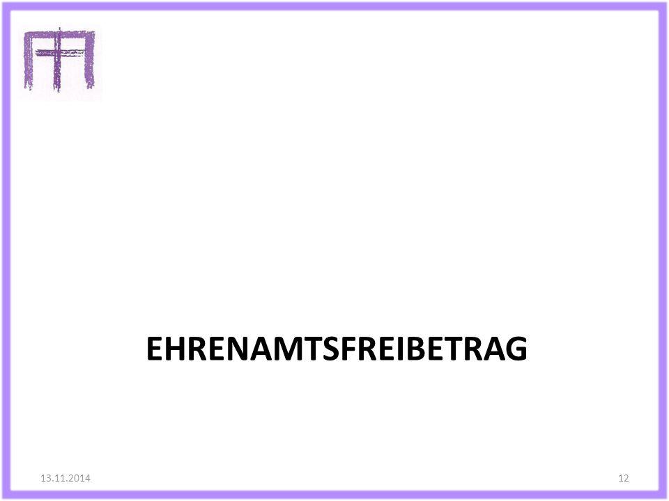 EHRENAMTSFREIBETRAG 13.11.201412