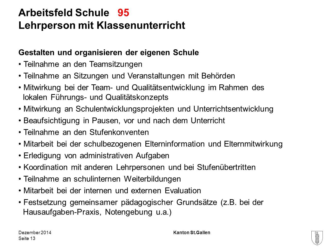 Kanton St.Gallen Arbeitsfeld Schule 95 Lehrperson mit Klassenunterricht Gestalten und organisieren der eigenen Schule Teilnahme an den Teamsitzungen T