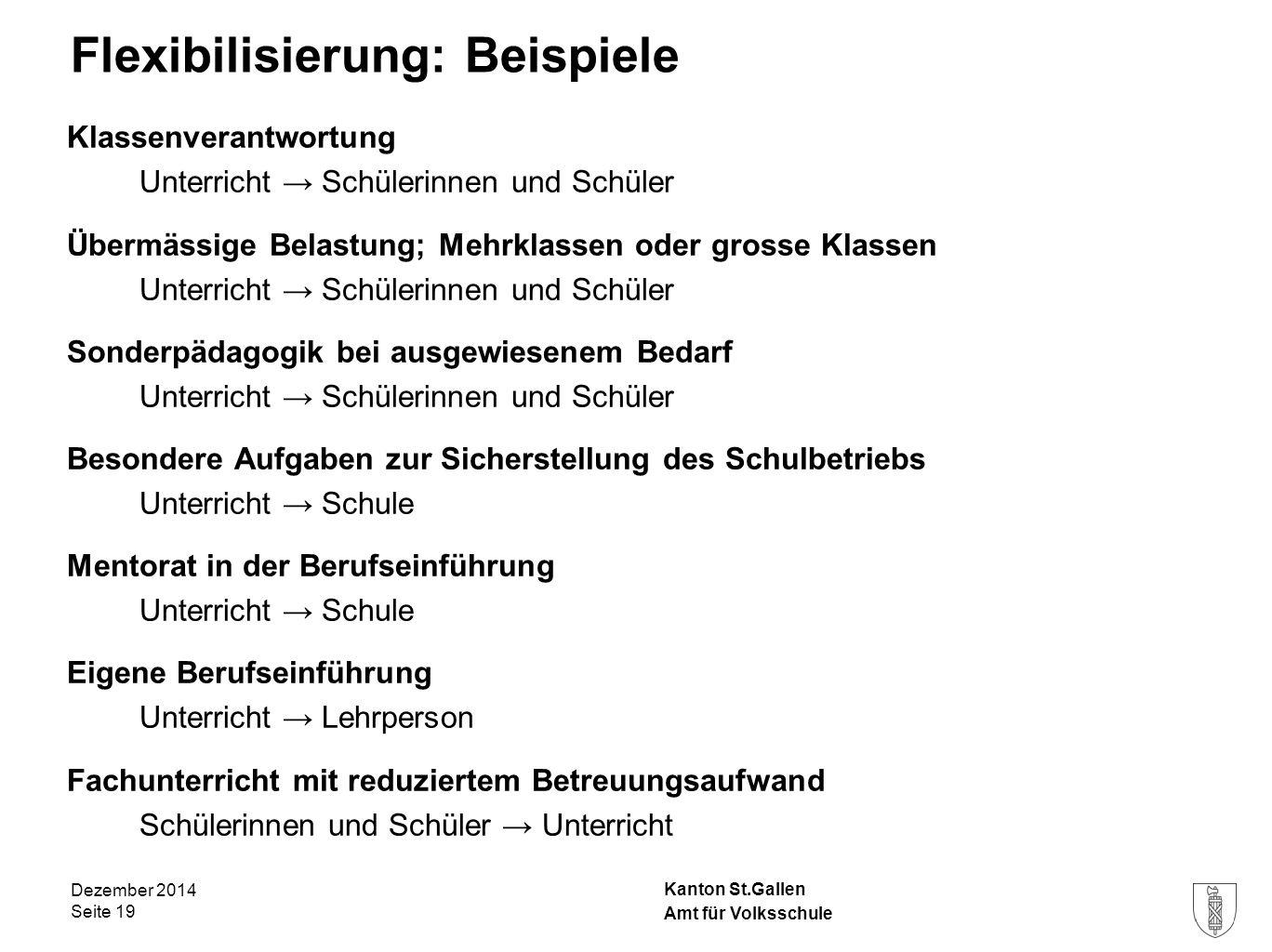 Kanton St.Gallen Flexibilisierung: Beispiele Klassenverantwortung Unterricht → Schülerinnen und Schüler Übermässige Belastung; Mehrklassen oder grosse