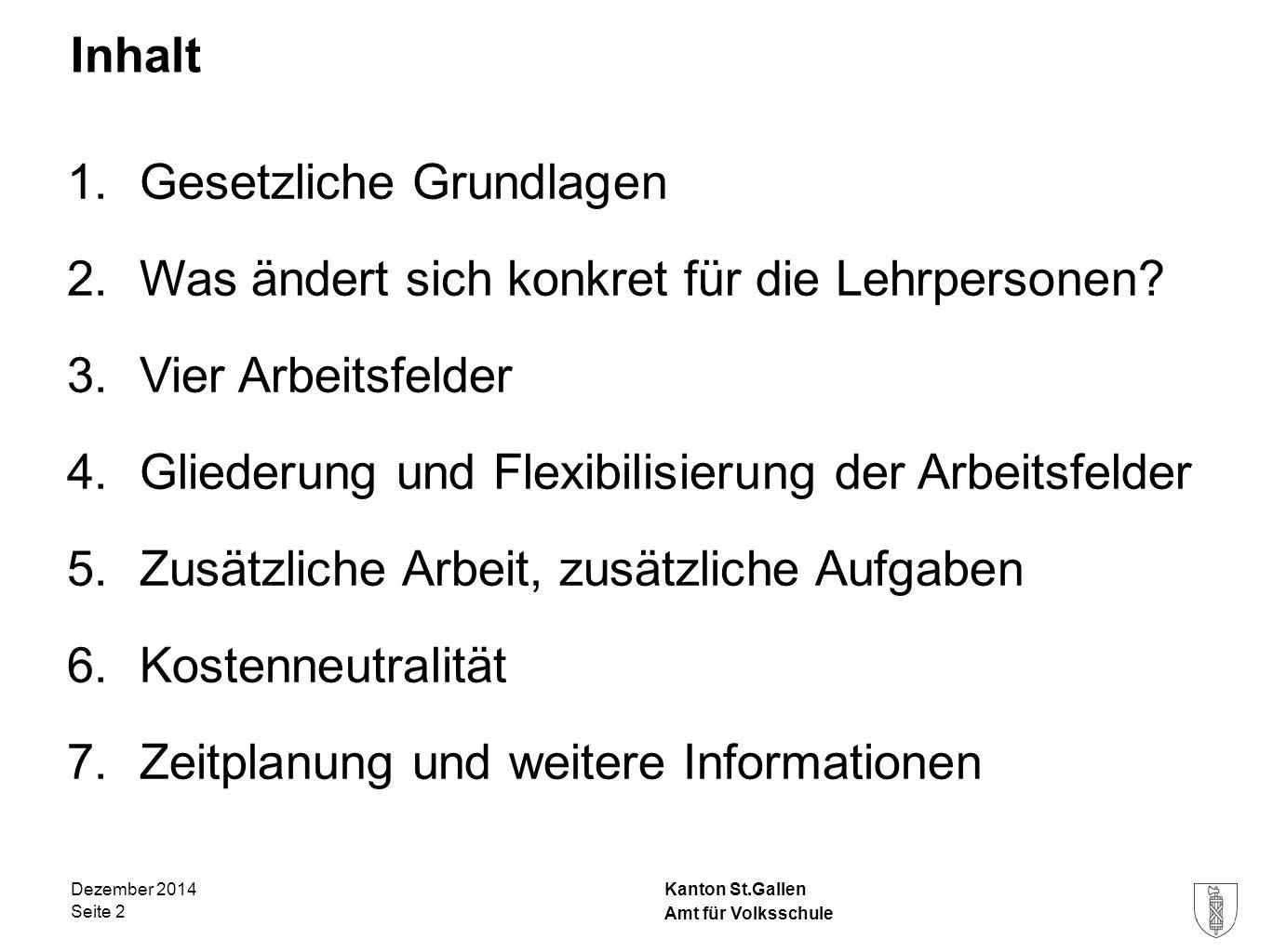 Kanton St.Gallen Inhalt 1.Gesetzliche Grundlagen 2.Was ändert sich konkret für die Lehrpersonen? 3.Vier Arbeitsfelder 4.Gliederung und Flexibilisierun