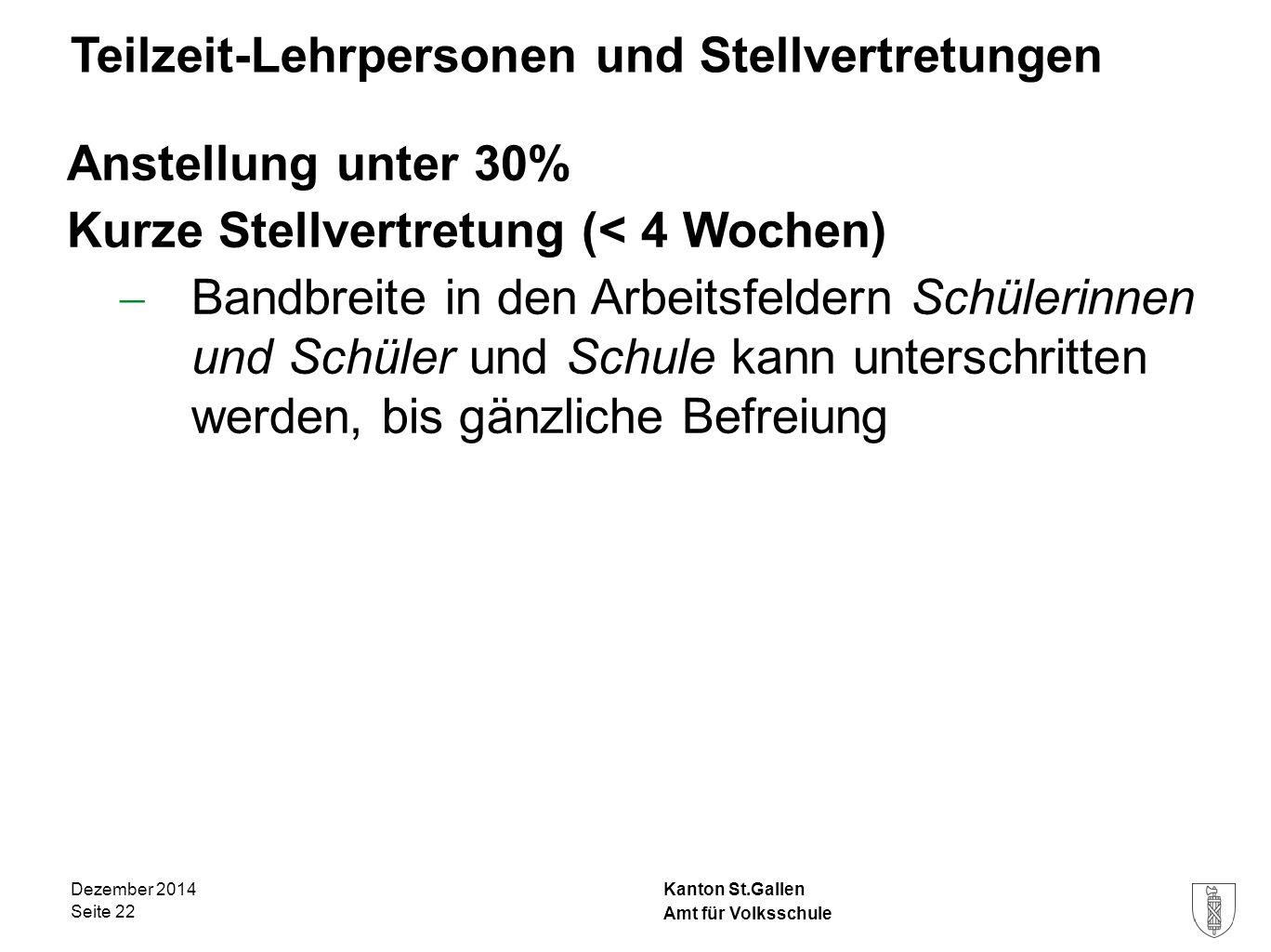 Kanton St.Gallen Teilzeit-Lehrpersonen und Stellvertretungen Anstellung unter 30% Kurze Stellvertretung (< 4 Wochen)  Bandbreite in den Arbeitsfelder