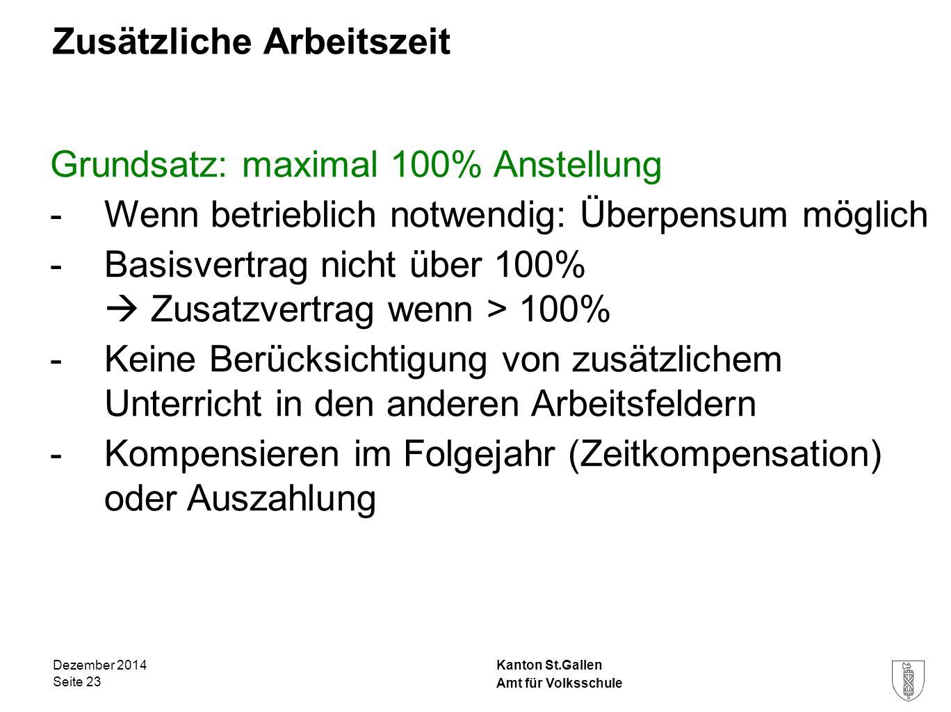 Kanton St.Gallen Zusätzliche Arbeitszeit Grundsatz: maximal 100% Anstellung -Wenn betrieblich notwendig: Überpensum möglich -Basisvertrag nicht über 1