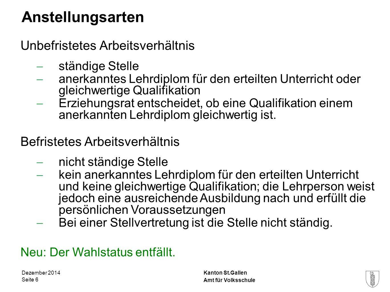 Kanton St.Gallen Anstellungsarten Unbefristetes Arbeitsverhältnis  ständige Stelle  anerkanntes Lehrdiplom für den erteilten Unterricht oder gleichw