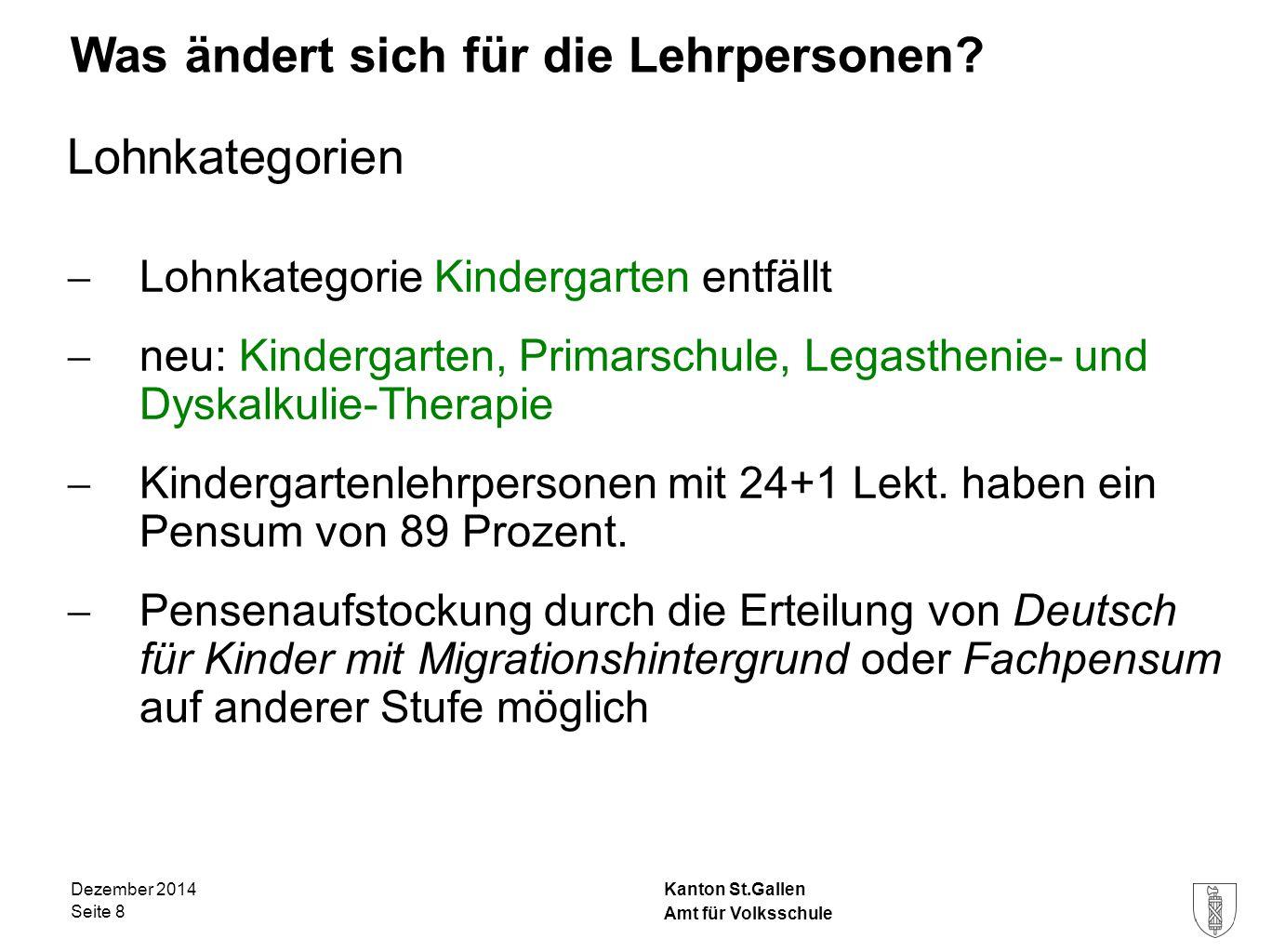 Kanton St.Gallen Was ändert sich für die Lehrpersonen? Lohnkategorien  Lohnkategorie Kindergarten entfällt  neu: Kindergarten, Primarschule, Legasth