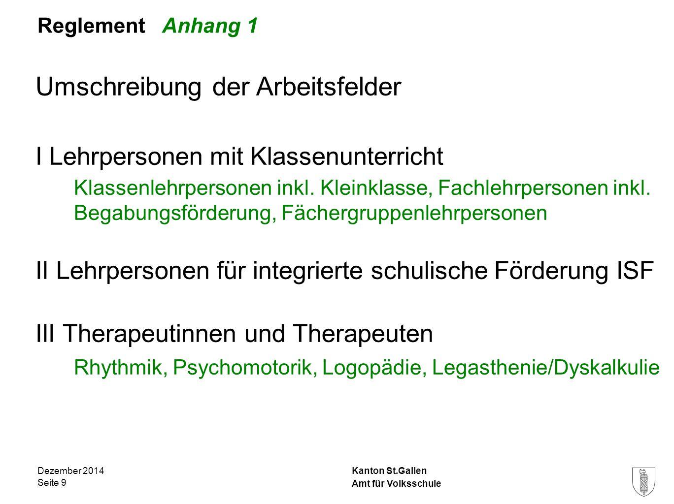 Kanton St.Gallen Reglement Anhang 1 Umschreibung der Arbeitsfelder I Lehrpersonen mit Klassenunterricht Klassenlehrpersonen inkl. Kleinklasse, Fachleh