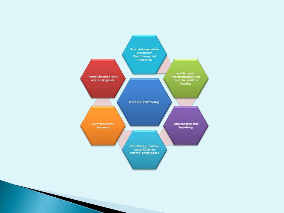 Individuelle Betreuung Unterstützung bei der beruflichen Orientierung und Integration Erprobung von Arbeitsmöglichkeiten durch betriebliche Praktika S