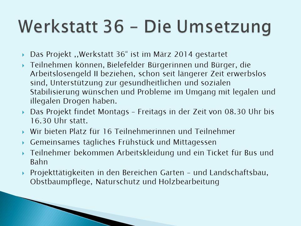 """ Das Projekt,,Werkstatt 36"""" ist im März 2014 gestartet  Teilnehmen können, Bielefelder Bürgerinnen und Bürger, die Arbeitslosengeld II beziehen, sch"""