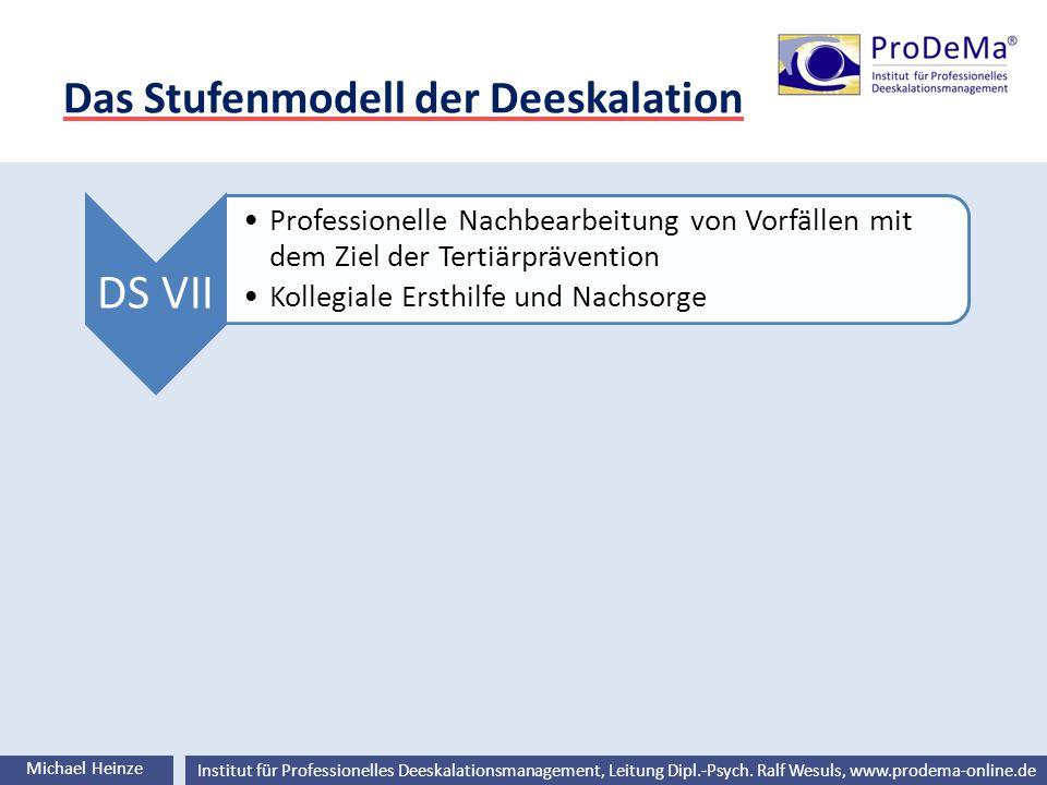 Ralf Wesuls © Institut für Professionelles Deeskalationsmanagement, Leitung Dipl.-Psych. Ralf Wesuls, www.prodema-online.de Das Stufenmodell der Deesk